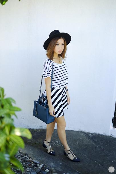 kryzuy blogger hat bag stripes spring outfits top skirt shoes jewels