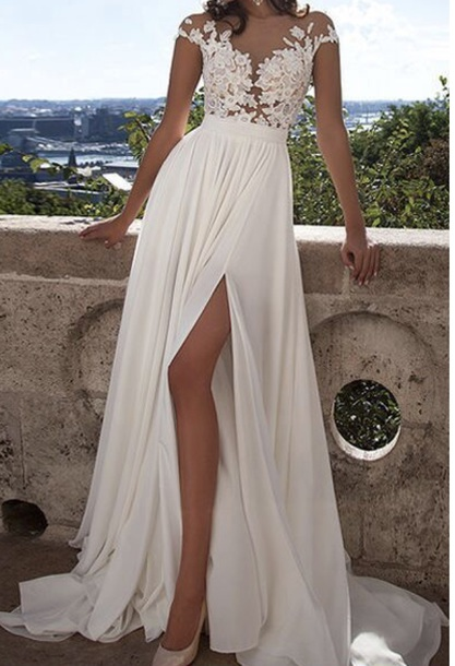 dress white lace dress prom dress long prom dress white dress