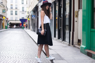 meet me in paree blogger skirt top shoes hat bag