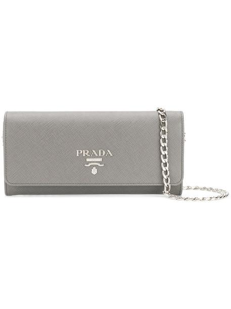 Prada women clutch leather grey bag