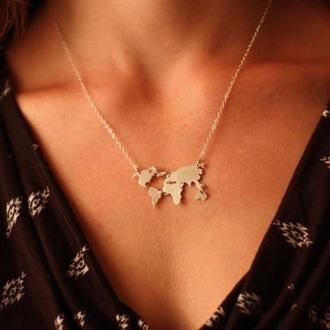 jewels classy gold necklace earthy jewelry minimalist minimalist jewelry modcloth map print