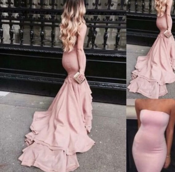 dress pink mermaid strapless prom gown