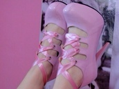 shoes,heels,kawaii,kawaii shoes,pink,lace up,ribbon,pink ribbon,bow,sweet,lovely,cute,cute shoes,pastel,pastel pink,japanese,lolita