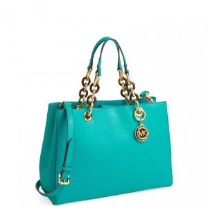 MICHAEL Michael Kors Aqua Cynthia Satchel - Saffiano Leather - Sale