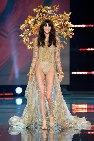 dress vanessa moody runway gold lingerie sexy lingerie victoria's secret victoria's secret model