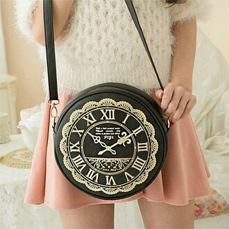 bag alice in wonderland clock gold black