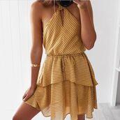 dress,seven wonders the label,mustard,mustard dress,halter neck,halter neck dress,mini,mini dress,birthday dress,yellow