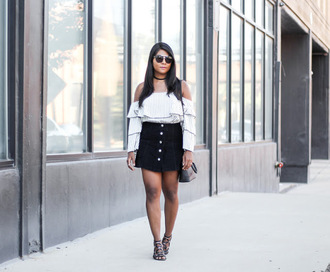 the-colorpalette blogger skirt top bag sunglasses shoes jewels summer outfits button up skirt sandals off the shoulder top