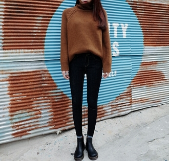 winter sweater grunge skinny jeans ankle boots on point clothing jeans
