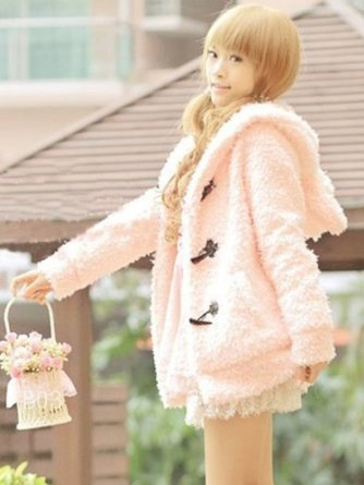 Women Girls Long Sleeve Fleece Cardigan Cute Rabbit Ears Hoodie Coat Casual Outerwear Jacket: Amazon.co.uk: Clothing