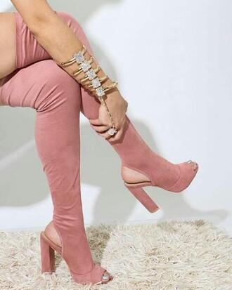 shoes blush high knee knee high girl high heels rose rose gold high knee boots knee high boots open toes velvet suede suede boots nude open heels heels