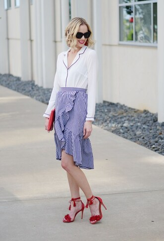 straight a style blogger pajamas top skirt jeans shoes shorts clutch sandals high heel sandals red heels gingham skirt gingham
