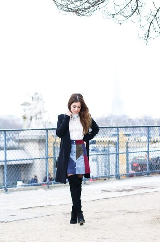 elodie in paris blogger top skirt shoes coat bag jewels