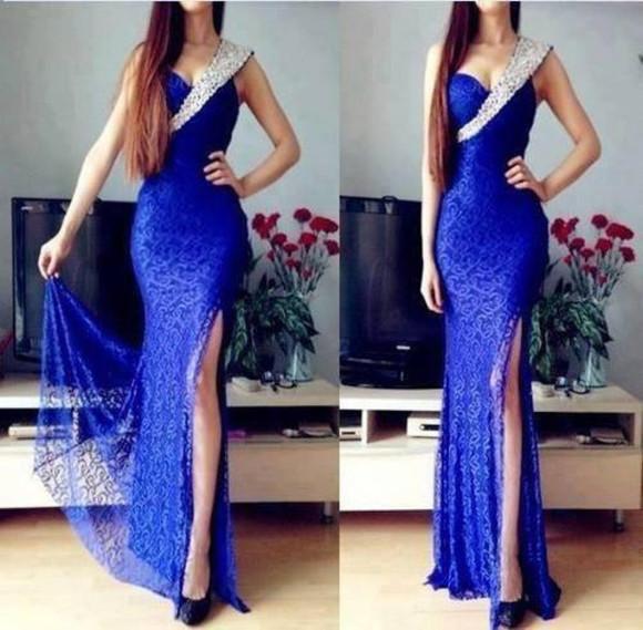 prom dress prom dresses 2014 prom dresses long dress long prom dress royal blue dress elegant royal blue prom dress one sleeve dress sexy royal blue dress