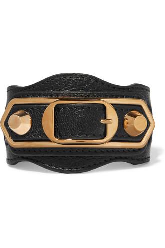 metallic gold leather black jewels