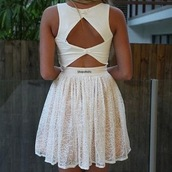 dress,white,cut-out,girly,white dress,openback,pink,perfect,summer,pretty,beautiful,triangle back,short