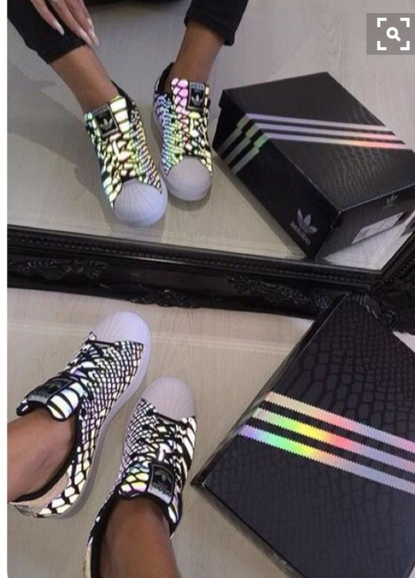 shoes, holographic adidas, holographic, glow in the dark