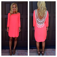 Neon Coral Embroidered Baby Got Back Dress                           | Dainty Hooligan Boutique
