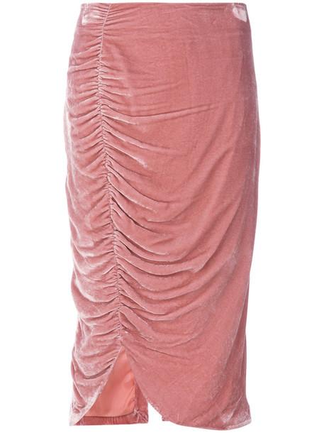 skirt women silk purple pink