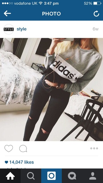 sweater adidas jumper white grey sweater black sweater
