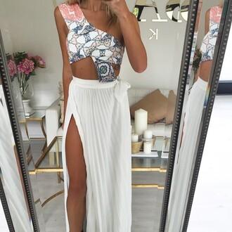 dress high low dress drees fashion white dress long dress hippie dress nature print
