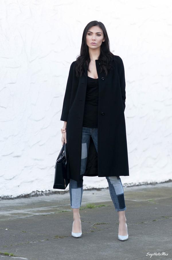 say hello max jeans coat bag jewels shoes sweater pants hat