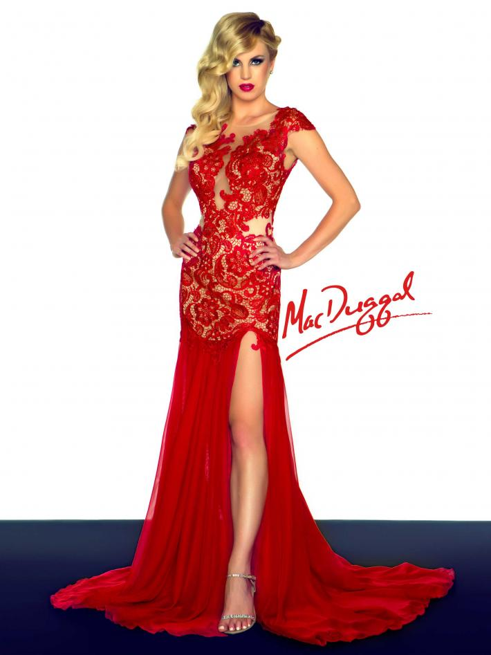 Red Lace Overlay Evening Gown | Mac Duggal 61041R