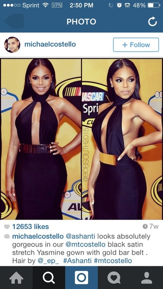 dress ashanti black dress gold bar long gown deep v neck dress silk polyester satin celebrity