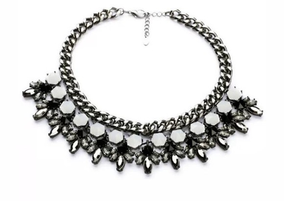 black chic white jewels necklace silver