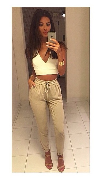 pants summer summer outfits beige top white festival crop tops
