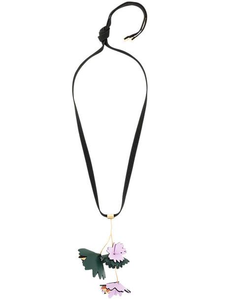 MARNI women necklace pendant floral cotton black jewels
