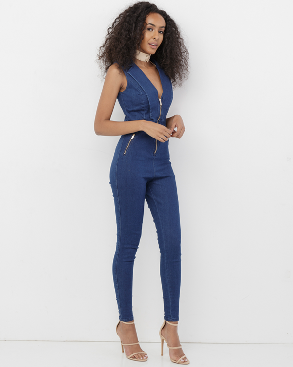CODY Dark Denim Stretch Denim Jumpsuit at FLYJANE