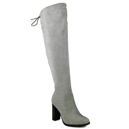 Jacob-01 Black Suede Over the Knee High Heel Boots