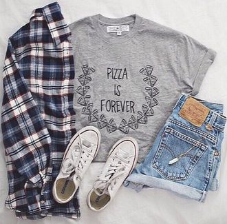 shirt pizza pizza is forever grey shorts