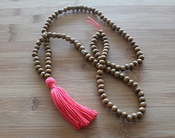 Christmas,Holiday Gift,Gifts For Women ,Coral Long Tassel Necklace Mala Yoga Tassel Necklace Wooden Bead Necklace Jewelry Necklaces 33