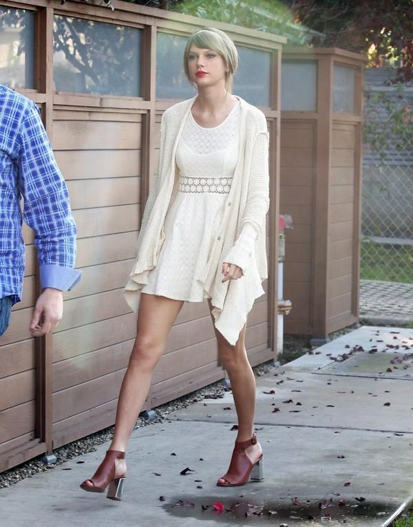 Dress: taylor swift, prada, cardigan, white dress - Wheretoget