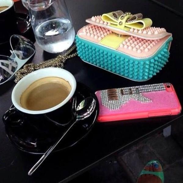 bag purse pastel bows studs yellow pink
