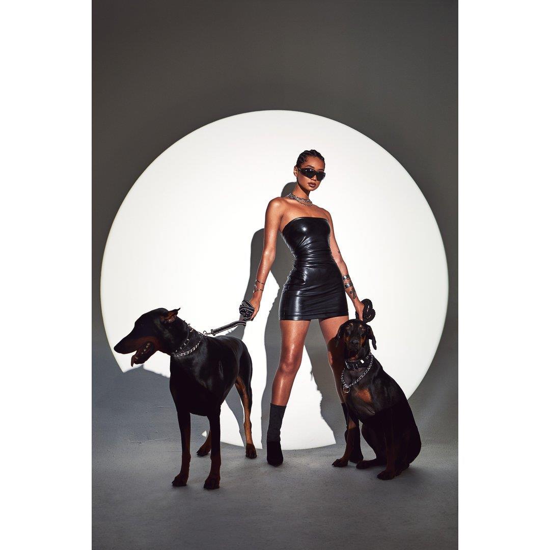 Sorella Faux Leather Strapless Mini Dress