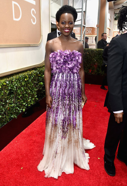dress lupita nyong'o giambattista valli Golden Globes 2015