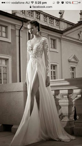 dress prom dress white formal elegant lace slit cut long sleeve