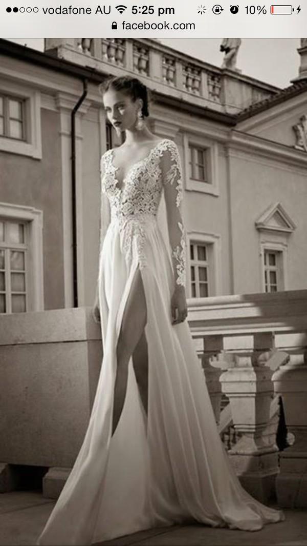 dress formal prom dress white slit cut long sleeves lace elegant