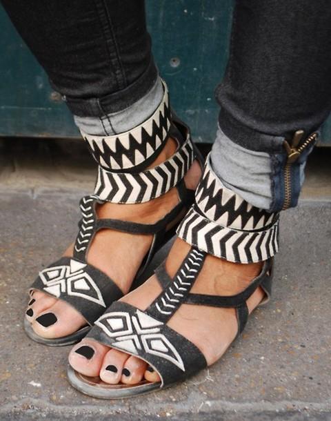 sandals flat leather aztec black shoes white shoes shoes sandles print