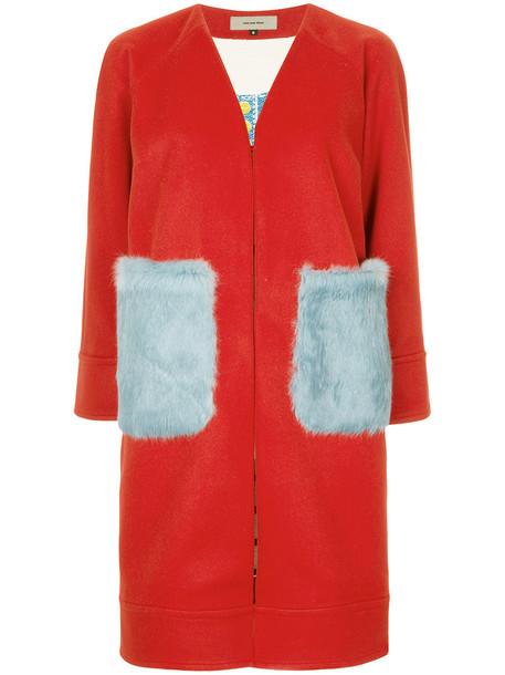 Han Ahn Soon coat fur women cotton wool red