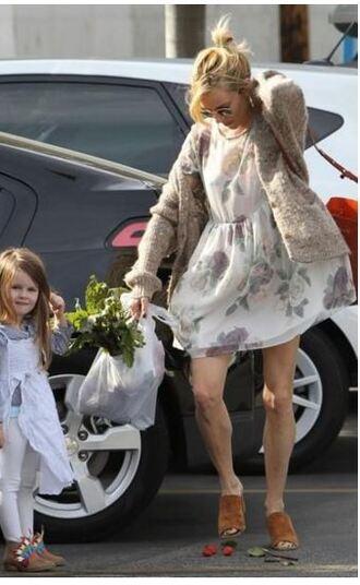 dress cardigan sienna miller sandals mules floral floral dress