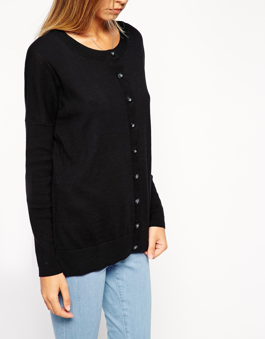 ASOS Boxy Cardigan In Fine Knit at asos.com