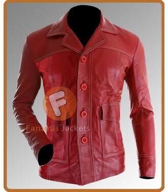 jacket leather jacket movie fight club brad pitt menswear