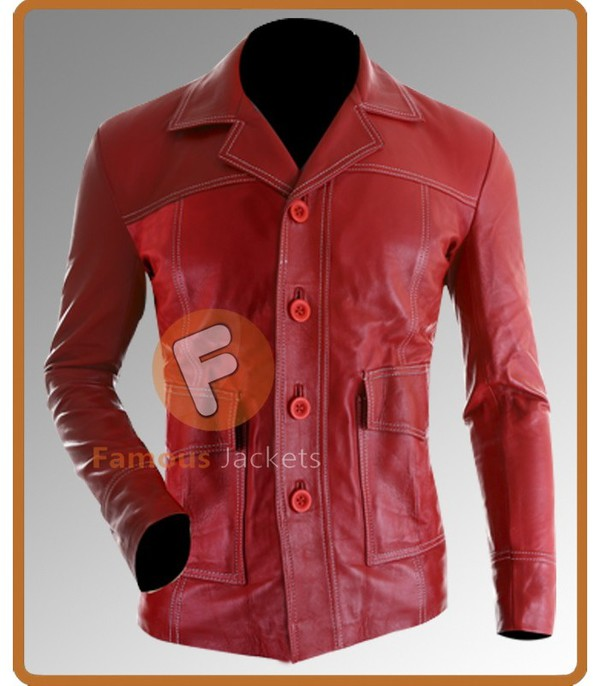 jacket leather jacket movie fight club brad pitt menswear