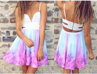 dress blue aqua blue pink aquamarine blue dress cut-out dress sexy dress girl fun galaxy dress galaxy print dope purple pink dress purple dress