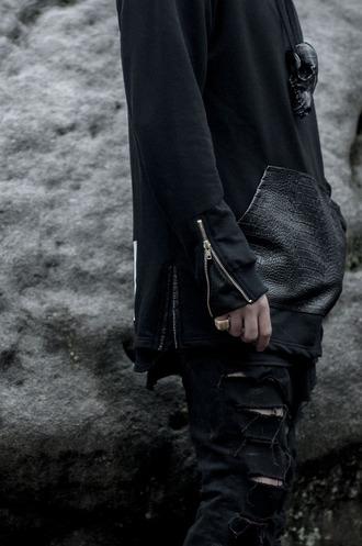 black fashion blvck dark avant garde street goth jewels urban menswear all black everything mens hoodie mens ripped jeans dark avant garde