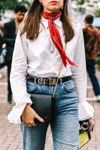 le fashion image blogger scarf dress shirt bag belt crossbody bag bell sleeves white blouse studded belt bandana